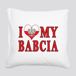 I Heart My Babcia Square Canvas Pillow