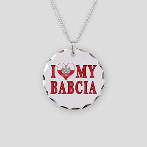 I Heart My Babcia Necklace Circle Charm