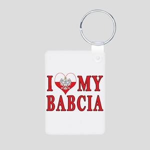 I Heart My Babcia Aluminum Photo Keychain
