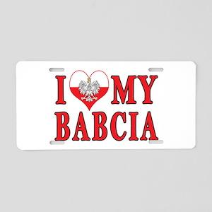 I Heart My Babcia Aluminum License Plate