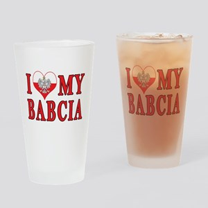 I Heart My Babcia Drinking Glass