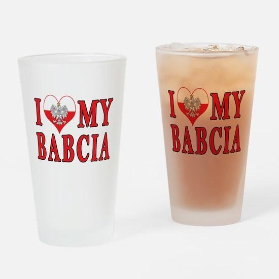 I Heart My Babcia Drinking Glass
