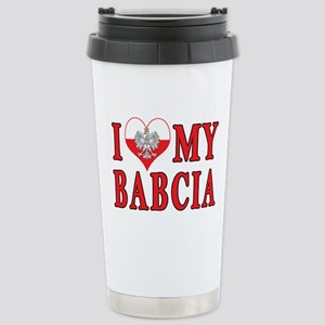 I Heart My Babcia Stainless Steel Travel Mug