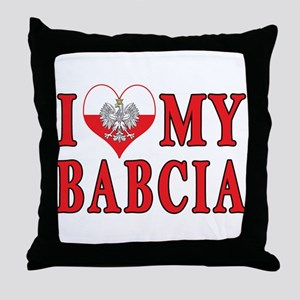 I Heart My Babcia Throw Pillow