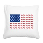 American Flag made of Snowmobiles Square Canvas Pi