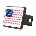 American Flag made of Snowmobiles Rectangular Hitc