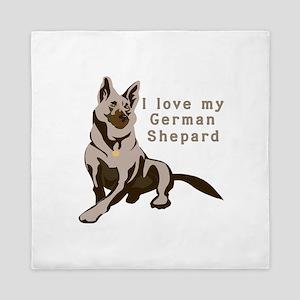 german-shepard,love-my Queen Duvet