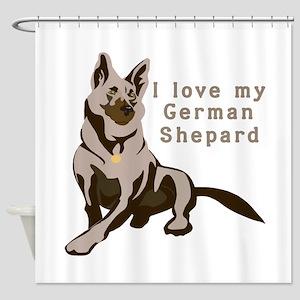 german-shepard,love-my Shower Curtain