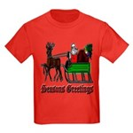 Christmas Santa Sleigh Reindeer Kids Dark T-Shirt