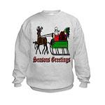 Christmas Santa Sleigh Reindeer Kids Sweatshirt