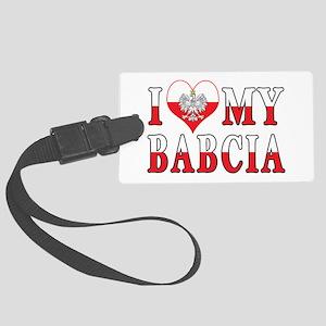 I Heart My Babcia Flag Large Luggage Tag