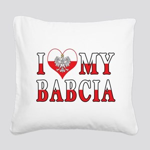 I Heart My Babcia Flag Square Canvas Pillow