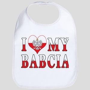 I Heart My Babcia Flag Bib