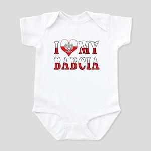 I Heart My Babcia Flag Infant Bodysuit