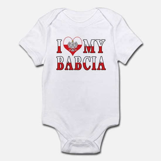 I Heart My Babcia Flag Infant Bodysuit