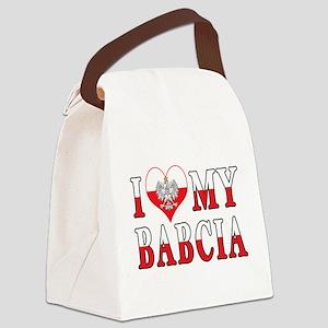 I Heart My Babcia Flag Canvas Lunch Bag
