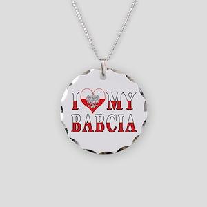 I Heart My Babcia Flag Necklace Circle Charm