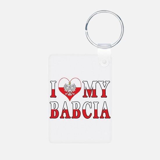 I Heart My Babcia Flag Keychains
