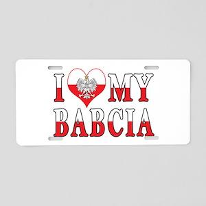 I Heart My Babcia Flag Aluminum License Plate