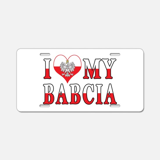 I Heart My Babcia Flag Aluminum License Plate
