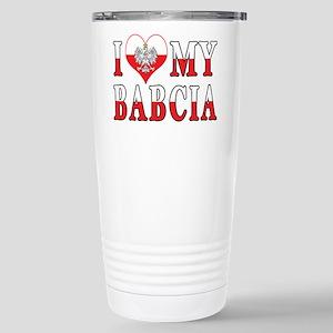 I Heart My Babcia Flag Stainless Steel Travel Mug