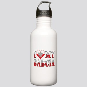 I Heart My Babcia Flag Stainless Water Bottle 1.0L