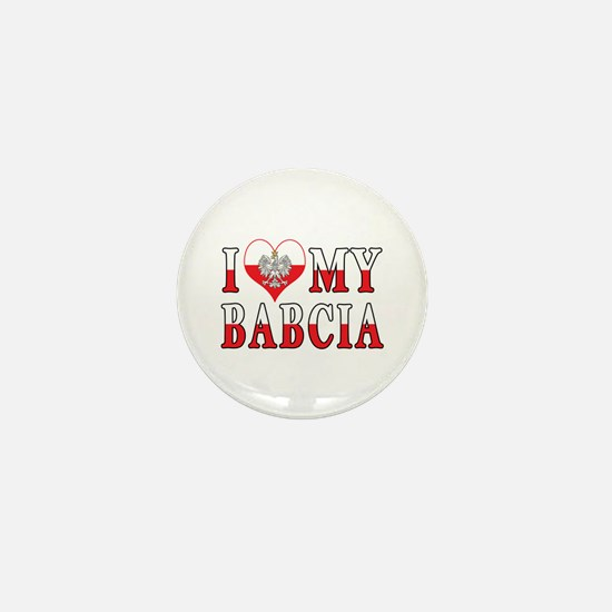 I Heart My Babcia Flag Mini Button