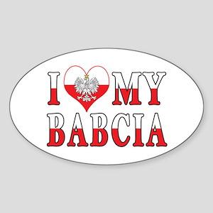 I Heart My Babcia Flag Sticker (Oval)