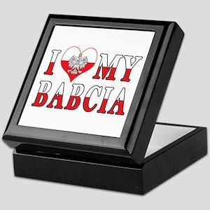 I Heart My Babcia Flag Keepsake Box