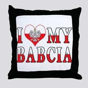 I Heart My Babcia Flag Throw Pillow