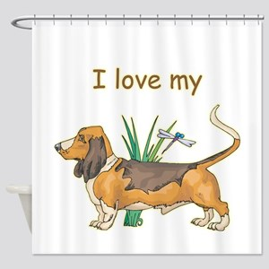 3-basset,i-love-my,png Shower Curtain
