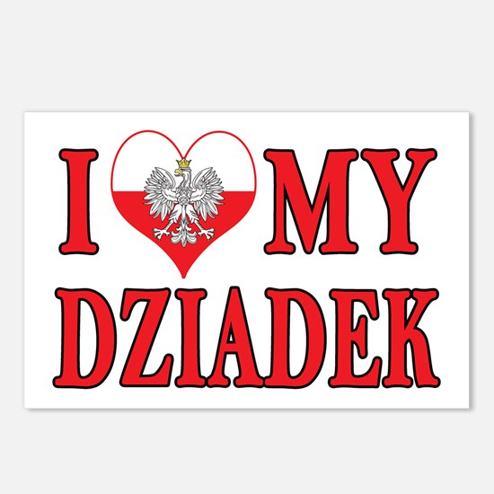 I Heart My Dziadek Postcards (Package of 8)