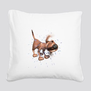 dog-shaking Square Canvas Pillow