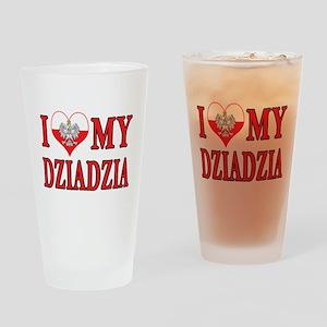 I Heart My Dziadzia Drinking Glass