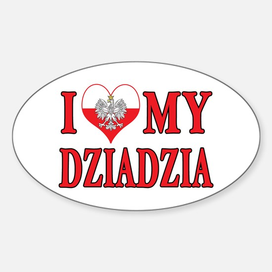 I Heart My Dziadzia Sticker (Oval)
