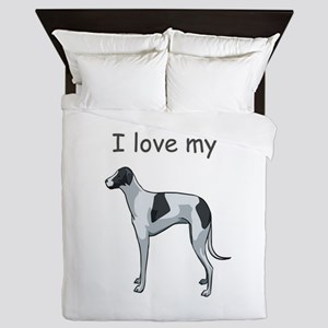 whippet,i-love-my,png Queen Duvet