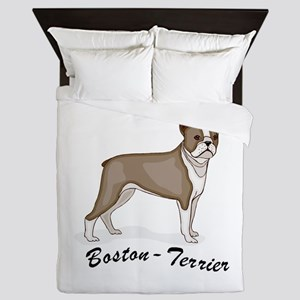 3-boston terrier Queen Duvet