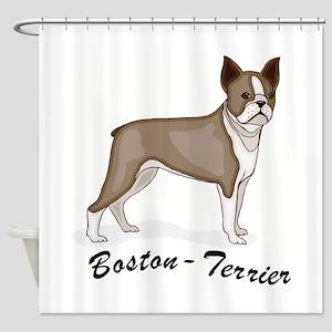 3-boston terrier Shower Curtain