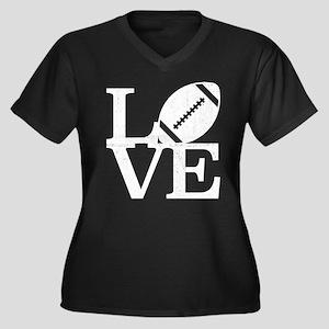 Love Footbal Women's Plus Size V-Neck Dark T-Shirt