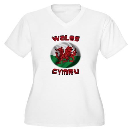 Wales Cymru Women's Plus Size V-Neck T-Shirt