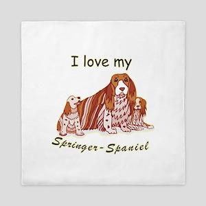 springer-spaniel,i-love-my, Queen Duvet
