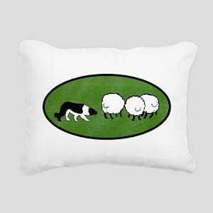 Border Collie Herding Rectangular Canvas Pillow
