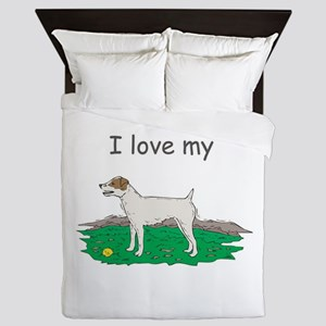 jack-russell,i-love-my,png Queen Duvet