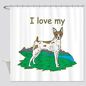 rat-terrier,i-love-my,png Shower Curtain