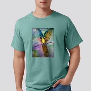 Blue/gold Macaw, parrot art! Mens Comfort Colors S