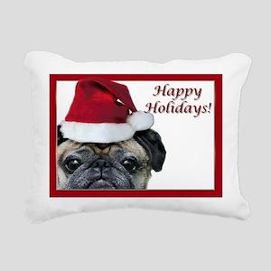 happy holidays pug Rectangular Canvas Pillow
