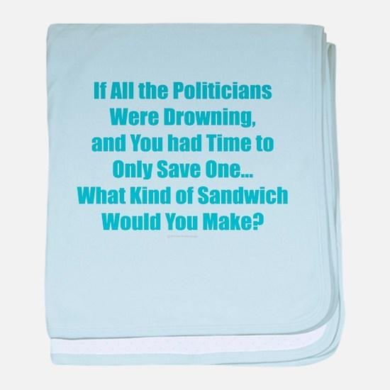 Political Sandwich Blue baby blanket