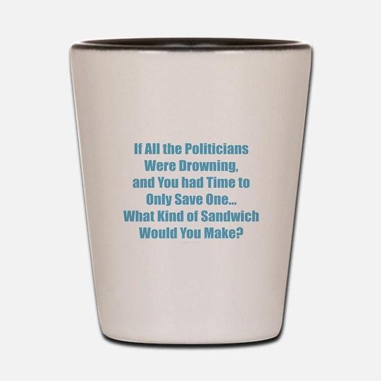 Political Sandwich Blue Shot Glass