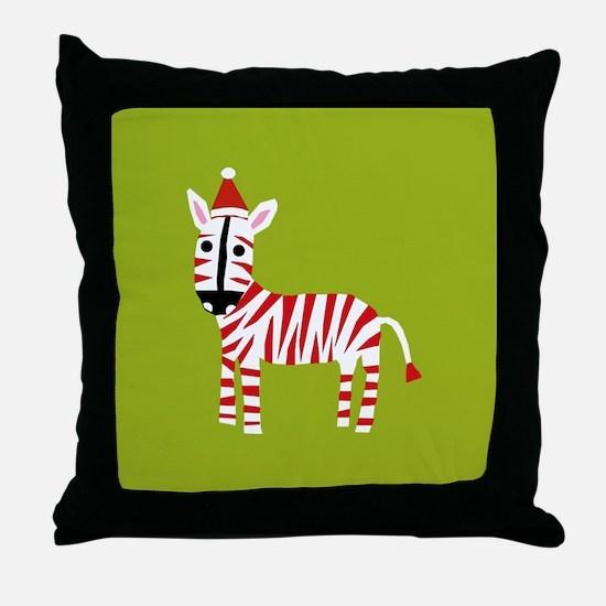 xmas zebra Throw Pillow