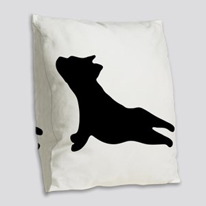 French Bulldog Yoga Burlap Throw Pillow